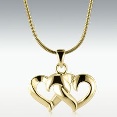 Entwined Hearts Solid 14k Gold Cremation Jewelry – Engravable ↪ Now only $595.00 #crematinurns #love #cremationjewelry #holyurns #love