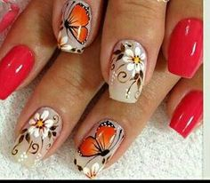 Creative Nail Designs, Pretty Nail Designs, Creative Nails, Nail Art Designs, Butterfly Nail Designs, Natural Acrylic Nails, Lace Nail Art, Claw Nails, Flower Nails