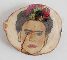 frida kahlo natural slice of wood pyrography hand by mademeathens
