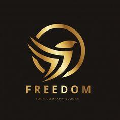 Logo con diseño de pájaro dorado