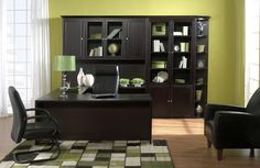 Executive U-Group Office - 71 Inch U-Group with Hutch and Bookcases