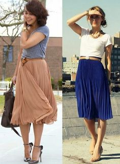 saia midi plissada Pleated midi skirt