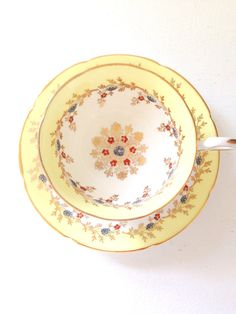 Vintage English Fine Bone China Royal Grafton Buttercup Yellow Teacup and Saucer Duo Tea Party c. 1957 - 1960