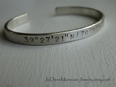 Sterling silver cuff, personalized mens or womens hand stamped custom cuff by JoDeneMoneuseJewelry on Etsy