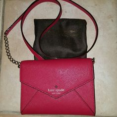 Kate Spade cedar street mini Monday Apple red crossbody, envelope style with detachable strap turns into small clutch. Polka dot lining with pockets for ID and cards kate spade Bags Crossbody Bags