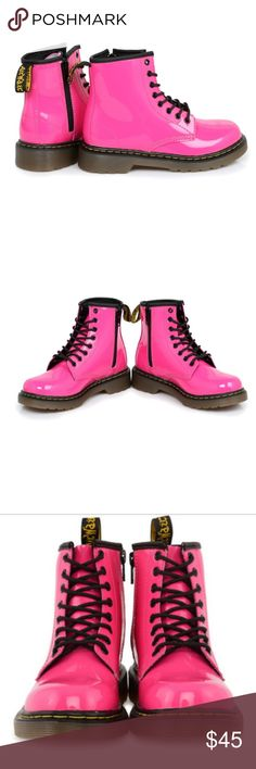 Hot Pink Delaney AirWair Dr. Martens EUC. Lots of life left in them! Some scuffs that aren't noticeable when wearing! Dr. Martens Shoes Boots