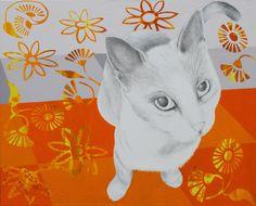 'kat på flisegulv' - akryl og blyant på lærred, 56 x 80 cm Rum, Paintings, Cats, Animals, Gatos, Animales, Paint, Animaux, Painting Art