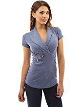 PattyBoutik Women's Shawl Collar Short Sleeve Blouse