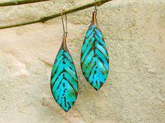 bohemian earrings leaf earrings copper by Gypsymoondesigns on Etsy