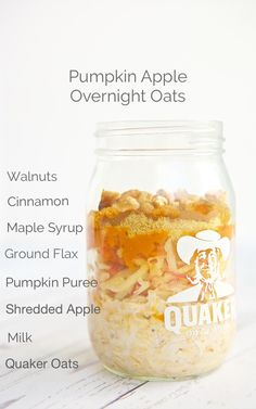 Get excited for fall with this simple, delicious and healthy Pumpkin Apple Overnight Oats recipe. ~ http://jennabraddock.com