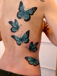 Teal Butterflies Tattoo