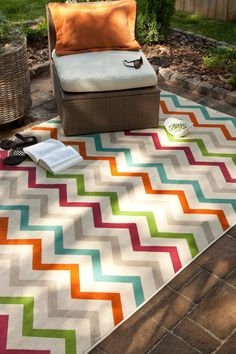 Outdoor Herringbone Rug - could be good for the youth room. Would be really durable.