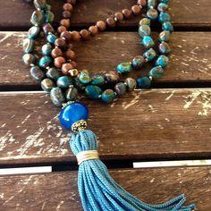 Brown aquamarine agate mala necklace