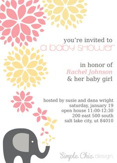 Custom Baby Girl Shower Invitation- Elephant - simple design