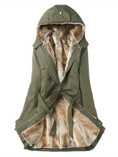 Women Removable Faux Fur Liner Thicken Hooded Warm Coat Outwear at Banggood