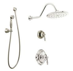 View the Moen 1025 Pressure Balanced Shower System with Rain Shower, Diverter, and Hand Shower from the Waterhill Collection (Valves Included) at FaucetDirect.com.