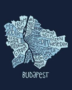 Budapest typo map Art Print by zldrawings - X-Small