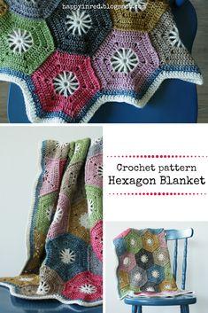 Crohet hexagon blanket, Scheepjes Stonewashed: free tutorial Happy in Red Crochet Hexagon Blanket, Crochet Blocks, Afghan Crochet Patterns, Crochet Motif, Crochet Designs, Crochet Yarn, Knitting Patterns, Crochet Blankets, Crochet Afghans