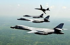 "planeshots: "" Formation flight Sunday. ""Four U.S. Air Force Rockwell B-1B Lancer from the 128th Bomb Squadron, 116th Bomb Wing, Georgia Air National Guard, in flight over Georgia (USA) on 19 April..."