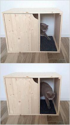 Cat Litter Box Cover Pet Furniture Cat House Modern Litter #cattoiletcover