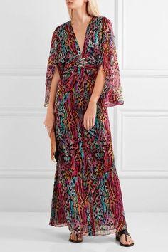 Matthew Williamson - Akita Embellished Printed Silk-chiffon Maxi Dress - Magenta - UK