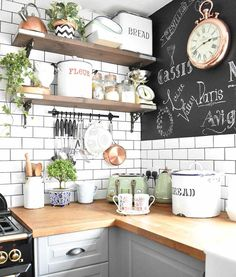Scandi Modern & French Vintage - Real Home Tour - Elle Hervin, Elle has introduced a combination of styles to her home. From Scandi vibes to French vintage with a touch of modern rustic, each style… Boho Kitchen, Home Decor Kitchen, Rustic Kitchen, Kitchen Interior, New Kitchen, Home Kitchens, French Kitchen Decor, Interior Modern, Kitchen Ideas
