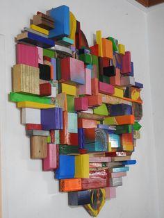 Large Love - Peace, Love & Happiness - Heart Wall Art - Big Blocks - Wall Art - One of a Kind Rec Liebe - Frieden, Liebe & Glück - Herz Wandkunst - Big Wall Art, Heart Wall Art, 3d Wall, Large Wood Wall Art, Large Art, Art Mural 3d, Grand Art Mural, Inspiration Wall, Recycled Wood