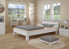 Schlafzimmer einrichten mit Erst-Holz Möbel. Hergestellt aus Massivholz - preiswert und schnell geliefert. Bench, Lounge, Storage, Furniture, Home Decor, Chair, Wooden Double Bed, Bed Frame, Simple
