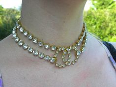 Stunning vintage Chanel crystal necklace/belt/choker with large CC clasp. From 1996 Autumn.