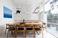 Mid century modern dining room with a lot of natural light