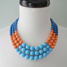 Color Block Triple Decker Necklace in Turquoise, Coral, and Royal Blue by Demoiselle on Etsy.