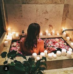 Boho gypsy luxe flower petal rose and candle bath spa time