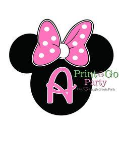Monograma de Disney, Minnie orejas, hierro en, t-shirt Transfer, Digital, color de rosa, lunares, camisas, damas de honor, familia, Stickers, imanes