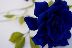 Blue Paper Rose – Handmade Paper Flowers – Roses available in any color – Valentine's Day, Wedding, Home Decor, Gift Paper Flowers Roses, Blue Roses, Flower Crafts, Flower Arrangements, Valentines, Day, Plants, Gifts, Handmade