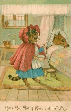 Little Red Riding Hood and the Wolf ~ Louis Wain