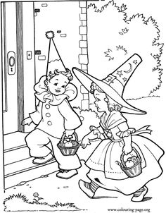 Kids Going To Halloween Party Coloring Page