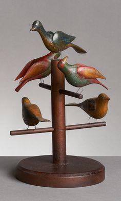5 carved birds turn of the 20th century folk art