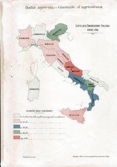 Partenze dall'Italia nel 1901    In Italia la rilevazione statistica del fenomeno emigratorio da parte dello Stato ha inizio nel 1876: da allora, e nel corso di un secolo, sono andate all'estero 26 milioni di italiani, in maggioranza maschi e in età lavorativa. Circa un terzo di essi è tornato.