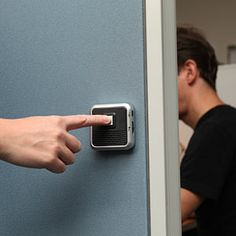 Cubicle door bell for your co worker who always has ear buds in. He'll hear you now.