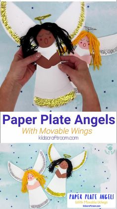 This Paper Plate Angel Craft For Kids is so pretty and fun! This easy Christmas angel craft has movable wings so kids can make and play! A simple and fun paper plate Christmas craft for kids. #kidscraftroom #angelcrafts #christmascrafts #kidscrafts #paperplatecrafts #angels #angel #nativity #Sundayschoolcrafts #churchcrafts Creative Activities For Kids, Creative Arts And Crafts, Easy Crafts For Kids, Arts And Crafts Projects, Creative Kids, Art For Kids, Fun Activities, Paper Plate Art, Paper Plate Crafts