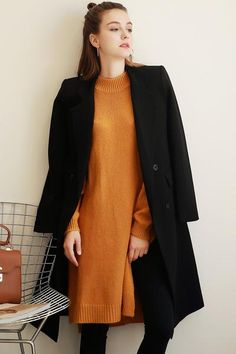 Women Fashion long-Sleeved Solid Color Slim Warm Breasted Blazer Coat