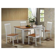 Bloomington 5 Piece Dining Set White And Honey Oak - Boraam