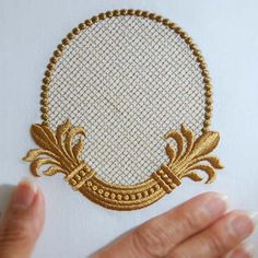 Would look great on the ends of s burlap table runner that has been lined and edged in white. Embroidery Monogram, Embroidery Suits, Gold Embroidery, Hand Embroidery Designs, Embroidery Stitches, Embroidery Patterns, Vine Monogram, Computerized Embroidery Machine, Lesage