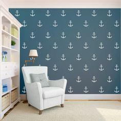 Anker Nautik Wand Muster Aufkleber  Aufkleber von danadecals