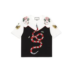Gucci Garden Exclusive T-Shirt (€1.075) ❤ liked on Polyvore featuring tops, t-shirts, gucci, embroidery t shirts, bumble bee t shirt, butterfly t shirt, honey bee t shirts and snake t shirt
