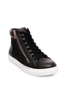 Steve Madden Elyka Leather Side Zipper Perforated Athletic Sneakers Wo