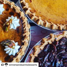 #Repost one of our FAVORITE #smallbusiness friends - @sinnersandsaintsdesserts! They'll be a part of our #SipNShop #Holiday #Boutique Saturday December 10th. 2-6pm. Join us!!  2 weeks until thanksgiving. Let's think stuffing turkey green bean casserole () and of course PIE!!! If you haven't placed your pre order yet...do so now: we make pumpkin pie chocolate bourbon pecan pie apple pie cherry pie and mixed berry pie...all available #glutenfree  #ornot along with some other holiday favorites…
