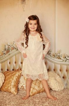 """ONLY GIRL"" Lace Dress with Flower"