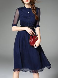 Blue Work Swing Silk-blend Midi Dress With Belt - StyleWe.com                                                                                                                                                                                 More