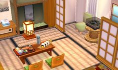 Oml this is so cute ic you're looking for a cute Japanese dining room, here . - Animal Crossing World - Animals Animal Crossing 3ds, Animal Crossing Pocket Camp, Cute Japanese, Japanese House, Deco Gamer, Japanese Animals, Ac New Leaf, Photo Deco, Happy Home Designer